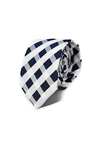 Oxford Collection Corbata de hombre Azul y Blanco a Cuadros - 100% Seda - Clásica, Elegante y Moderna - (ideal para un regalo, una boda, con un traje, en la oficina.)
