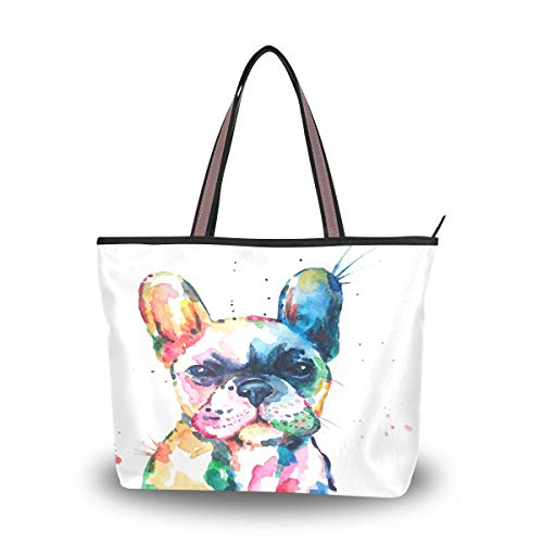 QMXO Watercolor French Bulldog Handbags and Purse for Women Tote Bag Large Capacity Top Handle Shopper Shoulder Bag