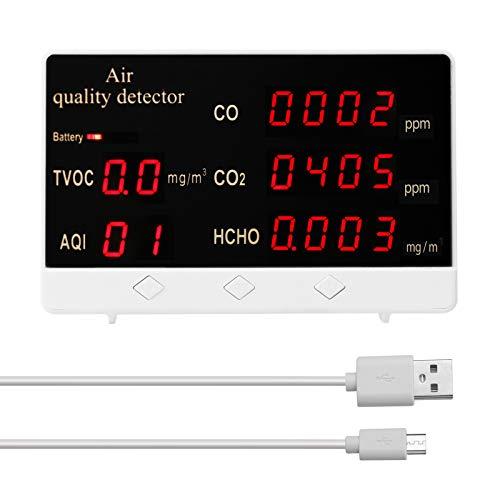 Kecheer Medidor de CO2 Detector de calidad del aire,CO CO2 HCHO TVOC monitor de calidad de aire alta precisión,medidor de co2 con pantalla LCD