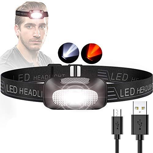 Lampada Frontale LED, Super Luminoso Torcia Frontale Lampade da Testa USB Ricaricabile Impermeabile Adatto a Bambini e Adulti, Campeggio, Corsa, Pesca, Ciclismo