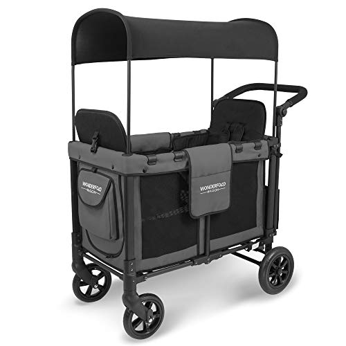 WonderFold Multi-Function Push 2 Passenger Double Folding Stroller, Adjustable Canopy & Removable Chair Seat Up To 2 Toddlers (Charcoal Gray)