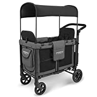 WonderFold Multi-Function Push 2 Passenger Double Folding Stroller, Adjustable Canopy & Removable Footrest Seats up to 2 Toddlers (Charcoal Gray)
