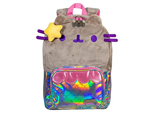 Pusheen BP32PSH-03 Mochila Escolar, Mermaid Cat Whiskers Camel Plush Silver Scales Holographic Patent Leather, Única, Multi