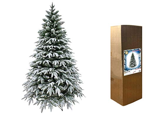 SHATCHI Lapland Fir Covered Artificial Christmas Tree Snow Flocked 567 Mixed Tips Hinged Branches Bushy Luxury Xmas Home Snowy Decorations, Green, 5Ft/150CM