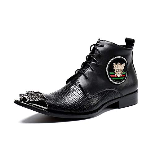 Story of life Hommes Bottines Lacées Comfy Casual Bottillons Hiver Mode Plat Martin Bottes Haut -Top Travail Chaussures Unisexe,Noir,45