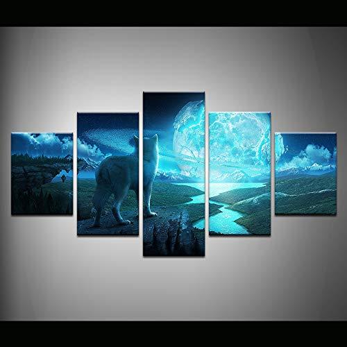 Gbwzz 5-delige canvas schilderij voor buiten, motief: sneeuw, witte wolf, dieren, muurkunst, schilderen, voor woonkamer, thuis, decoratie Frame 40x60 40x80 40x100 cm