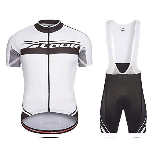 AJO Look Camiseta de Ciclismo para Hombre de Manga Corta Summer Pro White, Racing Club Road Bicycle Outdoor Bike Jersey, Combo de Ciclo MTB de compresión de Secado rápido (Size : Large)