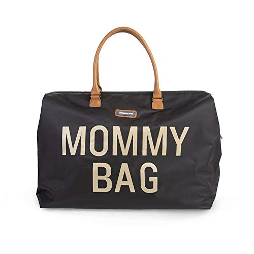 Childhome Wickeltasche MOMMY BAG groß in schwarz/gold inklusive Wickelmatte und Schultergurt, 55...