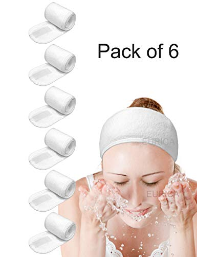 Spa Headband Hair Wrap EUICAE Sweat Headband Head Wrap Hair Towel Wrap Non-slip Stretchable Washable Makeup Headband for Face Wash Facial Treatment Sport Fits All White (6 pack)