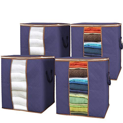 GEEDIAR Aufbewahrungstasche - 4 Stück 90L Faltbare Kleideraufbewahrung Groß - Unterbett Aufbewahrungstasche mit Langlebige Reißverschluss und Griffe für Bettdecken, Kissen, Kleidung, Decken, Blau