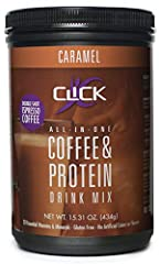 MEAL REPLACEMENT: CLICK Coffee Protein is an all-in-one, low calorie, coffee protein powder drink mix to curb appetite, keep energized and promote fat burning. Perfect as breakfast meal replacement, mid-day pick-me-up, snack or pre- or post-workout d...