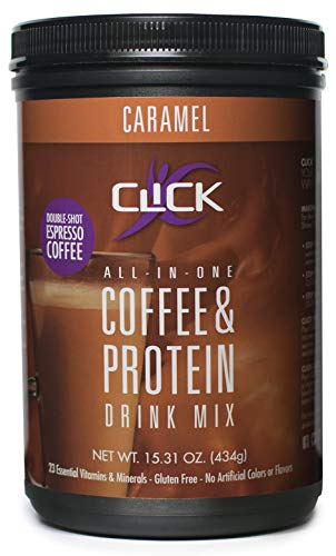 CLICK All-in-One Protein & Coffee Meal Replacement Drink Mix, Caramel, 15.3 Ounce