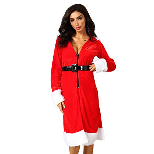 Cnebo Women Sexy Mrs. Claus Santa Costume, Christmas Hooded Robe Bathrobe Long Sleeve Warm Nightdress Coat with Belt Zip Red