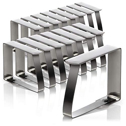 com-four® 16x Tischtuchklammern aus rostfreiem Edelstahl - Tischdeckenbeschwerer - Tischdeckenhalter
