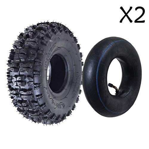 Fantastic Deal! ZXTDR Pack of 2 Tire and Inner Tube 4.10x3.50-4 | Off Road Mud ATV Quad Mini Pocket...