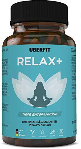 UberFit RELAX+ Natürlicher Komplex für Schlaf & tiefe Entspannung - mit Baldrian, Ashwagandha, Lavendel, Passionsblume, Melisse, Hopfen, L-Tryptophan - 90 Anti-Stress Kapseln Vegan