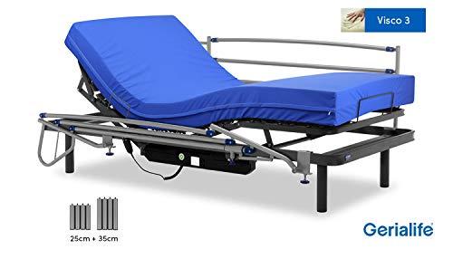 Gerialife Pack Cama articulada eléctrica | Colchón Sanitario viscoelástico | Barandillas abatibles | Patas más Altas (105x190, Gris Grafito)