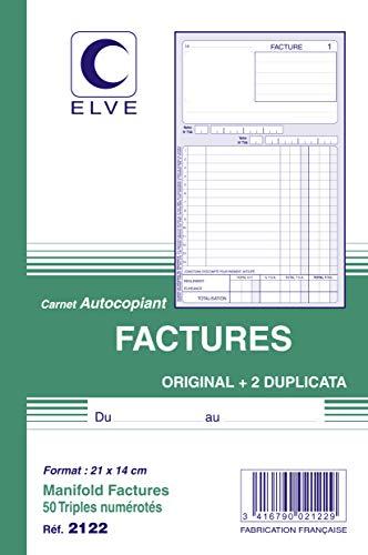 ELVE 22389Durchschreibeblock, 140x 210mm Paginierung 50triplis Gedruckt Rechnungen sortiert