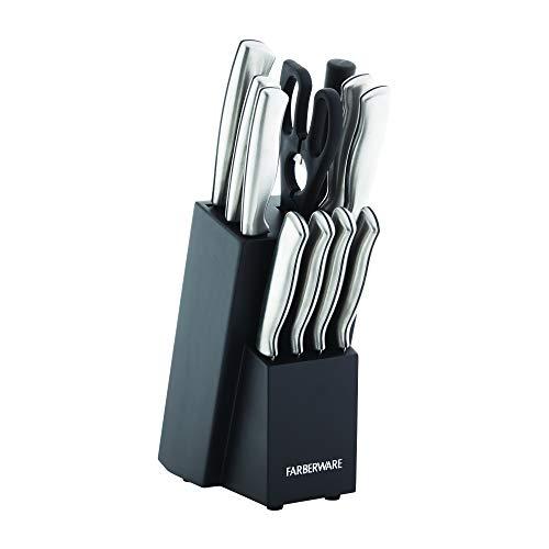 Farberware Fine Edge High-Carbon Stainless Steel Knife Block Set, 12-Piece, Black