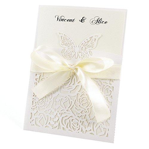 Anladia 10er Ivory Weiß Einladungskarten Elegante Schmetterling & Rose Spitze Design mit Karten, Umschläge, Schleifer, Einlegeblätter OHNE DRUCK Hochzeit Geburtstag Einladung #27