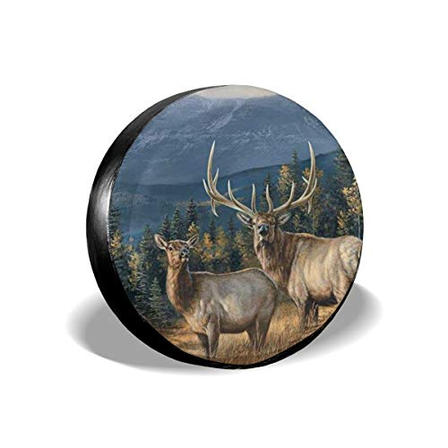 NFREYA Jackmen Spare Tire Cover Elk in Snow Polyester Universal Waterproof Sunscreen Wheel Covers for Trailer, RV, SUV, Truck and Many Vehicles 15 inch