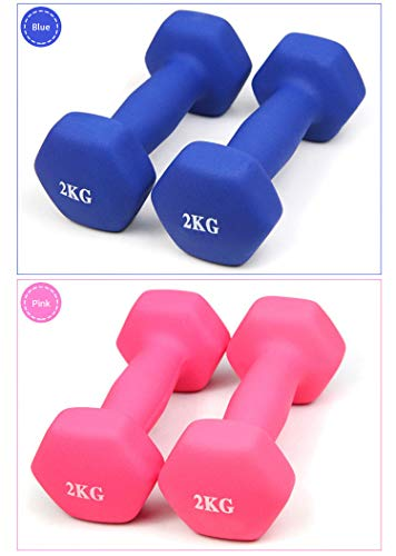 A Pair 2KG Matte Dumbbells Fitness Portable Girl Woman Children Home Exercise (Pink)