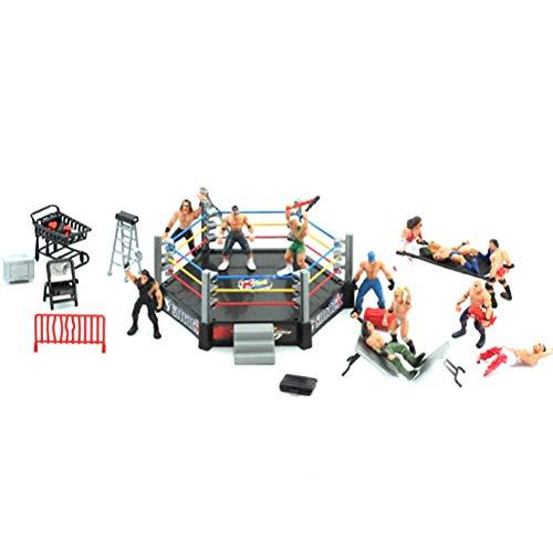 Toyvian Mini Wrestling Spielset Wrestling Action-Figuren mit Ring Realistische Wrestler Herausforderung Szene Modelle Set Kinderversammlung Spielzeug (15x12 cm)