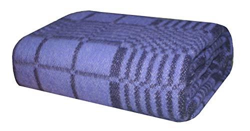 Wolldecke aus Schurwolle, Tagesdecke, Wolle, Schafwolle, Campingdecke, Lamdecke (140 x 200 cm Dunkel-Blai)