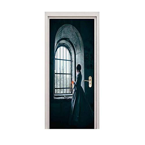 Lyrdream Türaufkleber Mädchen Fenster Papier Retro Abnehmbare Selbstklebende PVC Tür Wandbild Dekoration Renovierung