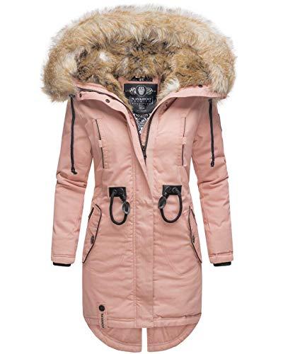 Navahoo warme Damen Winter Jacke lang Kunstfell Winterjacke Parka Mantel B660 [B660-Bomb-Rosa-Gr.M]