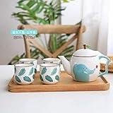 NfudishpuMoka Cafetera Taza de cerámica de Dibujos Animados 1 Olla 4 Tazas Juego de Tazas de Tetera Linda Conjunto de Oficina en casa Tetera de Leche de café de Cinco Piezas, 01