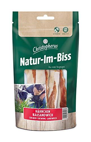 Christopherus Kausticks für Hunde, Hähnchen-Kausandwich, Warmluftgetrocknet, Natur-Im-Biss, 70 g