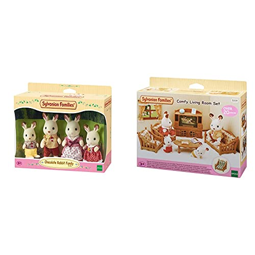 Sylvanian Families 4150 Familia Conejo Chocolate + 05339 Set De Salón De Hogar (Epi)
