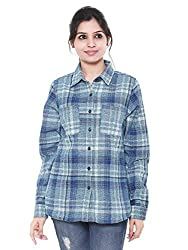 Twist Womens 100% Cotton Peach Finish Checkered Plaid Checks Flannel Casual & Party Wear Shirts