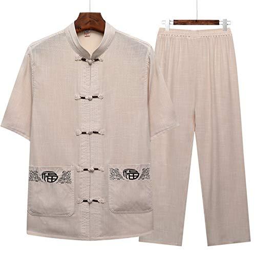 LINFENG Algodón Lino Tai Chi Colocar por Hombres Chino Tradicional Espiga Traje Marcial Letras Ropa Camisas Pantalones (Color : Gray, Size : X-Small)