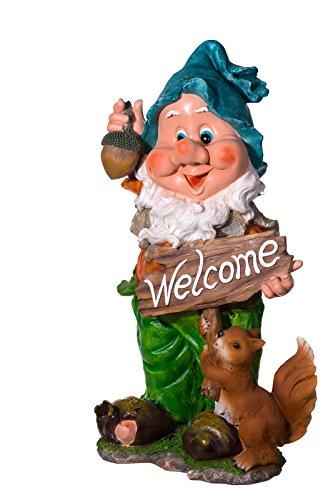 Sarah B RIESIGER Zwerg, Gartenzwerg XXXL Gartenwichtel NF12140A-2, Groß 90 cm hoch, Gartenfigur, Dekorationsfigur für Innen und Außen, Polyresin 14 kg schwer, Gartendekoration, Skulptur