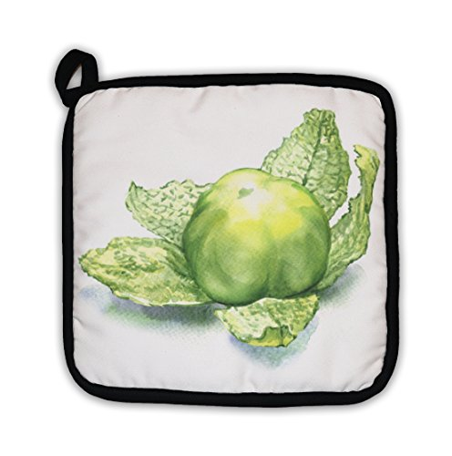 Gear New Green Tomatillo Fruit Isolated On White Pot Holder