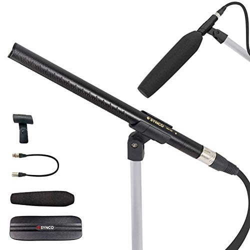 Shotgun Microphone, SYNCO-Mic-D2 Hyper Cardioid Directional Condenser Shotgun Mic with XLR Connector, Professional Video Audio Recording for Camcorders Boom Poles Tripods