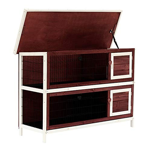 """PawHut 54"""" 2-Story Weatherproof Stackable Elevated Wooden Rabbit Hutch with Fun Enclosed Run and Pull-Out Trays"""