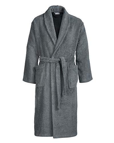 Sense of Home Frottee Bademantel - Morgen-Mantel mit oder ohne Kapuze - Saunamantel Unisex - Damenbademantel & Herrenbademantel lang Anthrazit | L