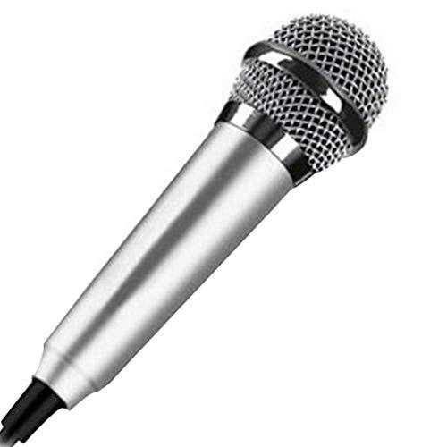 Mini-microfoon voor mobiele telefoon, draagbaar, met teline, draagbare microfoon, computer, zingend, licht, aluminiumlegering, opname, geluidsreductie. zilver.