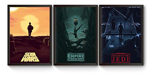 Kit 3 Quadros Trilogia Star Wars Poster Moldurado