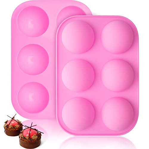 6 Holes Silicone Mold for Chocolate, Cake, Jelly, Pudding, Handmade Soap, Round Shape 3D Half Ball Sphere Mold DIY Muffin Bakeware Kitchen Tools for Baking (2, Pink)