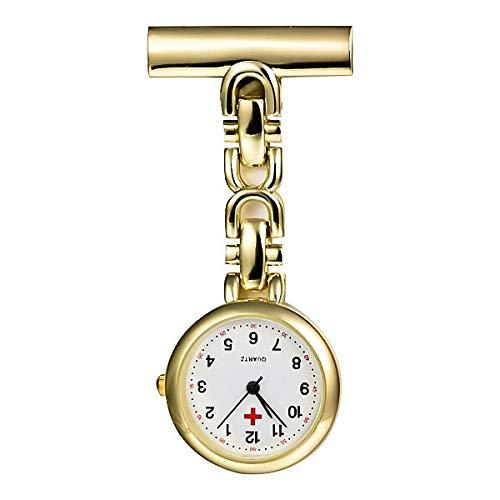 Cxypeng Damen Taschenuhr Krankenschwester,Große leuchtende Krankenschwesteruhr, hängende Uhr Retro Taschenuhr Geschenk-Golden A,Damen Schwesternuhr