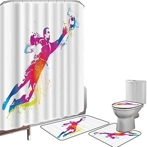 Juego de cortinas baño Accesorios baño alfombras Conjunto de deportes Alfombrilla baño Alfombra contorno Cubierta del inodoro El portero atrapa el balón Juego internacional de Goaly Star Training Rain