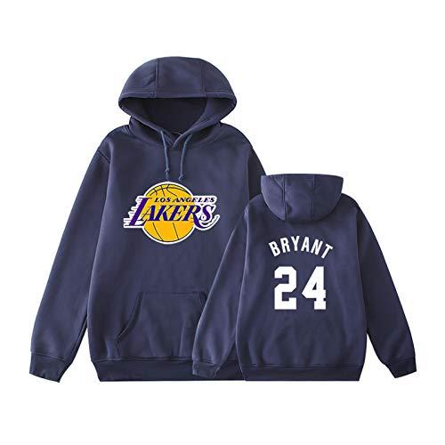 Bryant Lakers 24# Sudadera con capucha, estilo casual, para hombre y mujer, estilo hip hop, ropa de calle con capucha, para exteriores, cálida sudadera azul 2-XXL