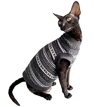Kotomoda Chandail d'hiver en laine Motif chat nu Sans poils Sphynx Vêtements pour chat (S)