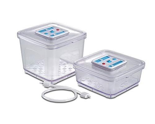 Solis Vakuumierbehälter-Set, 2 Stück, 1000/2800 ml, Quadratisch, Datums- und Unterdruckanzeiger, Vakuumieren/Marinieren