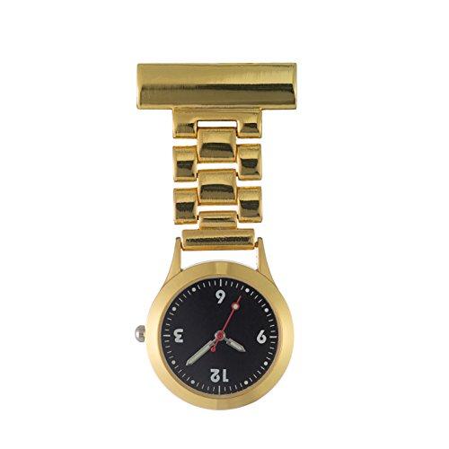 Ellemka JCM-1010 - Moderne Schwesternuhr Clip zum Anstecken FOB Kittel Krankenschwester Pflege-r Quarz Puls-Uhr Taschen Ansteck-Nadel Metall-Band Trend Design Mode - Farbe Gold