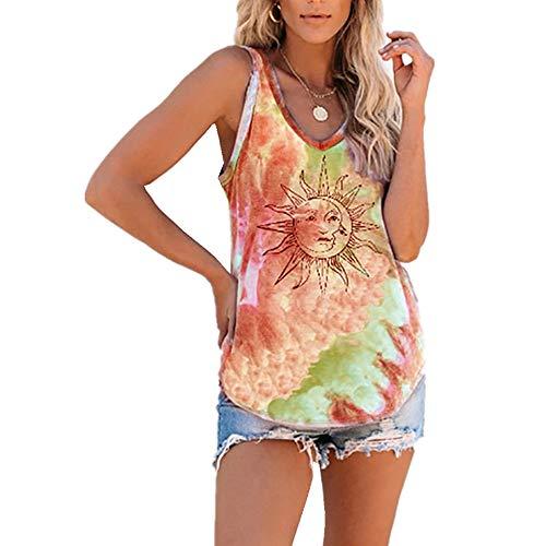 x8jdieu3 Camisa Verano Nuevo Cuello Redondo Casual Abstracto Tie-Dye Color Nube Sol Flor Chaleco Sin Mangas Camiseta Tops Mujer